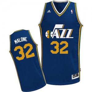 Maillot NBA Bleu marin Karl Malone #32 Utah Jazz Road Swingman Homme Adidas
