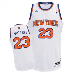 New York Knicks Derrick Williams #23 Home Swingman Maillot d'équipe de NBA - Blanc pour Homme