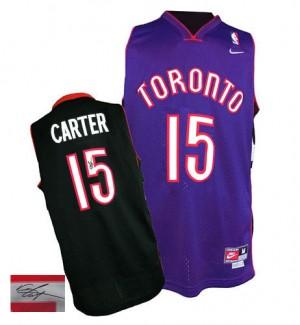 Maillot NBA Authentic Vince Carter #15 Toronto Raptors Throwback Autographed Noir / Violet - Homme