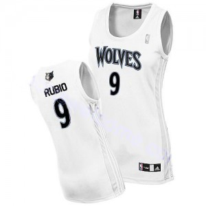 Maillot Authentic Minnesota Timberwolves NBA Home Blanc - #9 Ricky Rubio - Femme