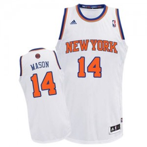 New York Knicks Anthony Mason #14 Home Swingman Maillot d'équipe de NBA - Blanc pour Homme