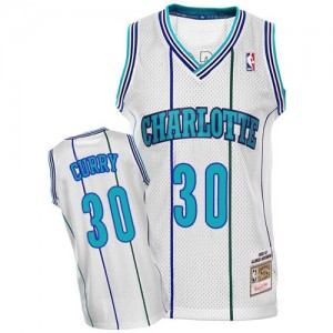 Charlotte Hornets Mitchell and Ness Dell Curry #30 Throwback Authentic Maillot d'équipe de NBA - Blanc pour Homme