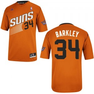 Maillot NBA Phoenix Suns #34 Charles Barkley Orange Adidas Swingman Alternate - Homme