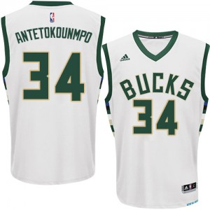 Maillot NBA Authentic Giannis Antetokounmpo #34 Milwaukee Bucks Home Blanc - Homme