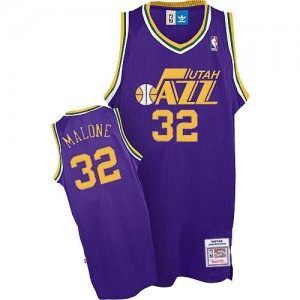 Maillot NBA Violet Karl Malone #32 Utah Jazz Throwback Authentic Homme Adidas