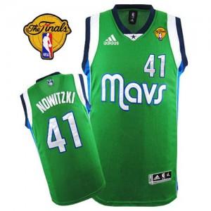 Dallas Mavericks #41 Adidas Finals Patch Vert Swingman Maillot d'équipe de NBA en soldes - Dirk Nowitzki pour Homme