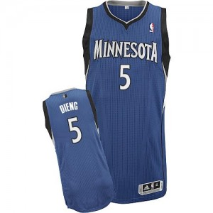Maillot Adidas Slate Blue Road Authentic Minnesota Timberwolves - Gorgui Dieng #5 - Homme