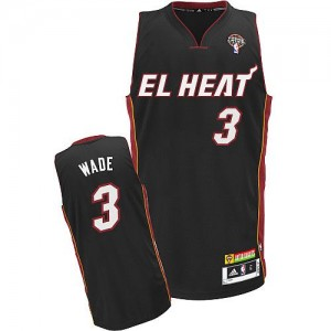 Maillot Adidas Noir Latin Nights Authentic Miami Heat - Dwyane Wade #3 - Homme