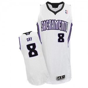 Maillot NBA Blanc Rudy Gay #8 Sacramento Kings Home Authentic Homme Adidas