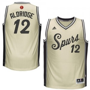 San Antonio Spurs LaMarcus Aldridge #12 2015-16 Christmas Day Swingman Maillot d'équipe de NBA - Crème pour Homme