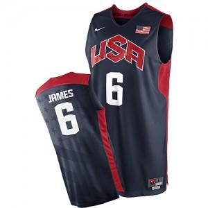 Team USA #6 Nike 2012 Olympics Bleu marin Authentic Maillot d'équipe de NBA boutique en ligne - LeBron James pour Homme