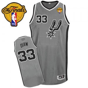 Maillot Authentic San Antonio Spurs NBA Alternate Finals Patch Gris argenté - #33 Boris Diaw - Homme