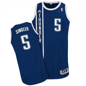 Maillot NBA Oklahoma City Thunder #5 Kyle Singler Bleu marin Adidas Authentic Alternate - Homme