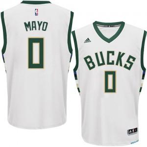 Maillot NBA Milwaukee Bucks #0 O.J. Mayo Blanc Adidas Authentic Home - Homme