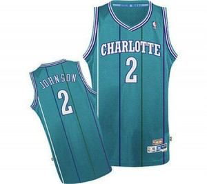 Charlotte Hornets Larry Johnson #2 Throwback Authentic Maillot d'équipe de NBA - Bleu clair pour Homme