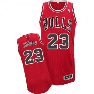 Chicago Bulls Michael Jordan #23 Road Authentic Maillot d'équipe de NBA - Rouge pour Homme