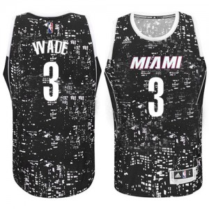 Maillot Adidas Noir City Light Authentic Miami Heat - Dwyane Wade #3 - Homme