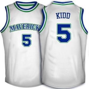 Maillot Authentic Dallas Mavericks NBA Throwback Blanc - #5 Jason Kidd - Homme