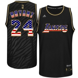 Maillot Adidas Noir USA Flag Fashion Authentic Los Angeles Lakers - Kobe Bryant #24 - Homme
