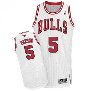 Maillot Adidas Blanc Home Authentic Chicago Bulls - John Paxson #5 - Homme