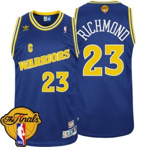 Maillot Adidas Bleu Throwback 2015 The Finals Patch Swingman Golden State Warriors - Mitch Richmond #23 - Homme