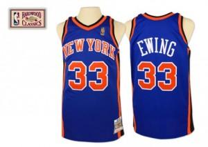 New York Knicks #33 Mitchell and Ness Throwback Bleu royal Authentic Maillot d'équipe de NBA Expédition rapide - Patrick Ewing pour Homme