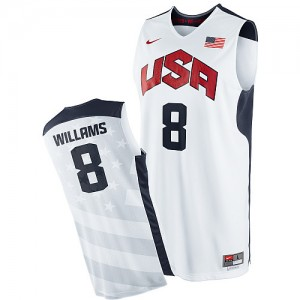 Maillot NBA Blanc Deron Williams #8 Team USA 2012 Olympics Authentic Homme Nike
