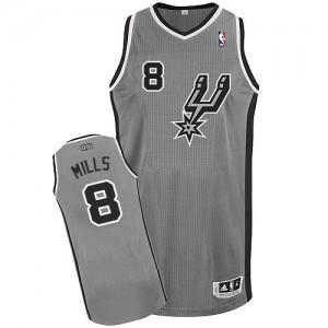 San Antonio Spurs #8 Adidas Alternate Gris argenté Authentic Maillot d'équipe de NBA en ligne pas chers - Patty Mills pour Homme