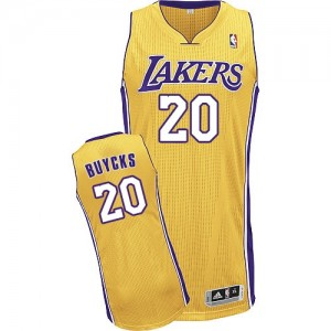 Maillot NBA Or Dwight Buycks #20 Los Angeles Lakers Home Authentic Homme Adidas