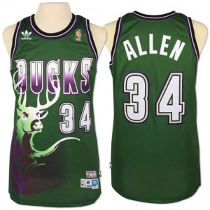 Maillot NBA Authentic Giannis Antetokounmpo #34 Milwaukee Bucks New Throwback Vert - Homme
