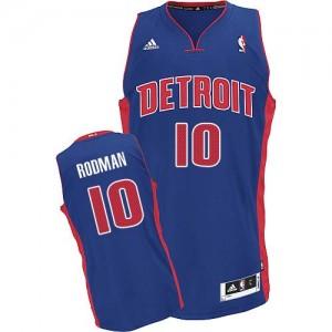 Maillot NBA Bleu royal Dennis Rodman #10 Detroit Pistons Road Swingman Homme Adidas