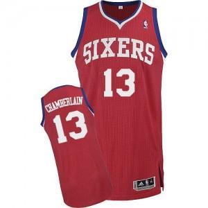Maillot NBA Authentic Wilt Chamberlain #13 Philadelphia 76ers Road Rouge - Homme