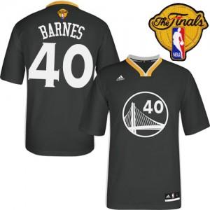 Maillot NBA Golden State Warriors #40 Harrison Barnes Noir Adidas Swingman Alternate 2015 The Finals Patch - Homme