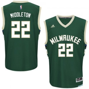 Maillot NBA Milwaukee Bucks #22 Khris Middleton Vert Adidas Swingman Road - Homme