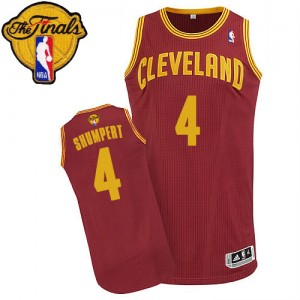 Maillot Authentic Cleveland Cavaliers NBA Road 2015 The Finals Patch Vin Rouge - #4 Iman Shumpert - Homme