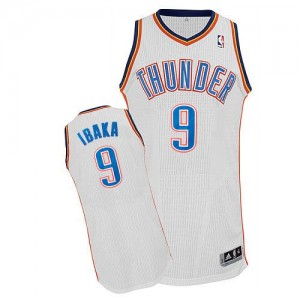 Maillot Adidas Blanc Home Authentic Oklahoma City Thunder - Serge Ibaka #9 - Homme