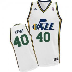 Maillot NBA Blanc Jeremy Evans #40 Utah Jazz Home Swingman Homme Adidas