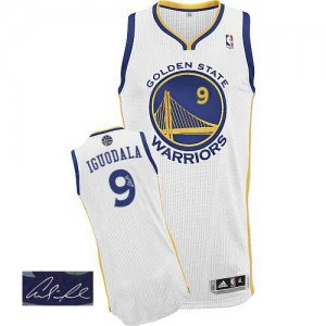 Maillot Authentic Golden State Warriors NBA Home Autographed Blanc - #9 Andre Iguodala - Homme