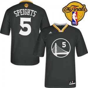 Maillot Authentic Golden State Warriors NBA Alternate 2015 The Finals Patch Noir - #5 Marreese Speights - Homme