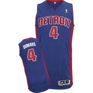 Maillot NBA Detroit Pistons #4 Joe Dumars Bleu royal Adidas Authentic Road - Homme