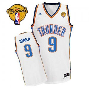 Maillot Adidas Blanc Home Finals Patch Swingman Oklahoma City Thunder - Serge Ibaka #9 - Homme