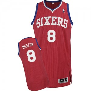 Maillot Adidas Rouge Road Authentic Philadelphia 76ers - Jahlil Okafor #8 - Homme