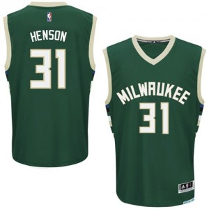Maillot NBA Authentic John Henson #31 Milwaukee Bucks Road Vert - Homme