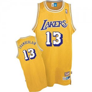 Maillot Adidas Or Throwback Authentic Los Angeles Lakers - Wilt Chamberlain #13 - Homme