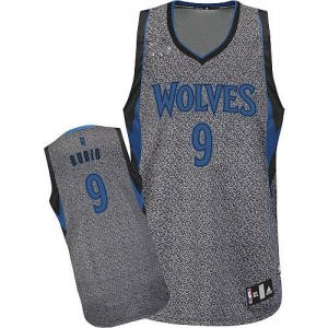 Minnesota Timberwolves #9 Adidas Static Fashion Gris Authentic Maillot d'équipe de NBA boutique en ligne - Ricky Rubio pour Homme
