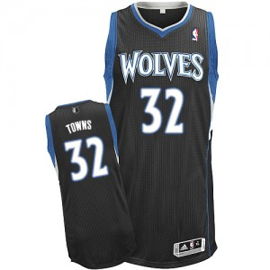 Minnesota Timberwolves Karl-Anthony Towns #32 Alternate Authentic Maillot d'équipe de NBA - Noir pour Homme