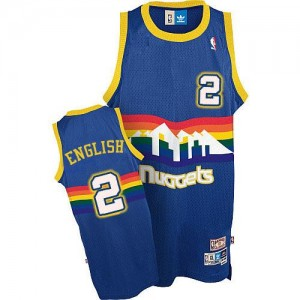 Denver Nuggets Alex English #2 Throwback Authentic Maillot d'équipe de NBA - Bleu clair pour Homme