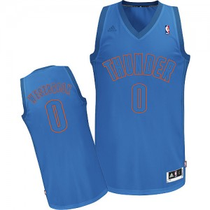 Maillot Swingman Oklahoma City Thunder NBA Big Color Fashion Bleu - #0 Russell Westbrook - Homme