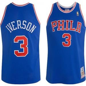 Philadelphia 76ers #3 Mitchell and Ness Throwback Bleu Authentic Maillot d'équipe de NBA Soldes discount - Allen Iverson pour Homme