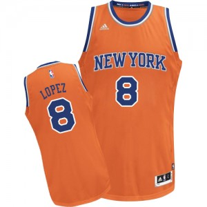Maillot Authentic New York Knicks NBA Alternate Orange - #8 Robin Lopez - Enfants